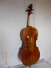 Guarnieri cello dark reddish brown over golden primer, hand varnished with shellac technical alcohol